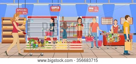 Customers People Bying Products In Supermarket. Grocery And Consumerism Concept. Empty Store Shelves