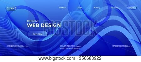 Blue Futuristic Abstract. Technology Motion. 3d Dynamic Wallpaper. Vibrant Curve Texture. Minimal Fu