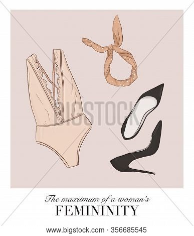 Bodysuit Lingerie Store Collection, Women Heels And Hairband Boutique Illustration. Retro Undergarme