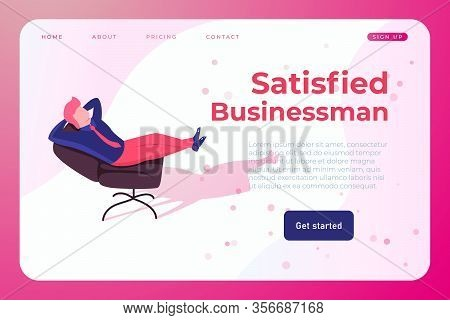 Satisfied Businessman In Office Chair. Successful Employee Who Solved The Crative Problem
