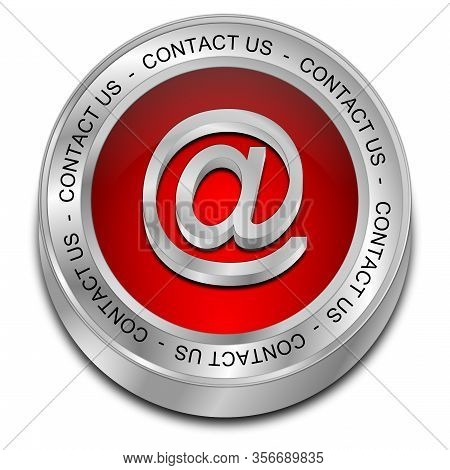 Red Button Contact Us On White Background - 3d Illustration