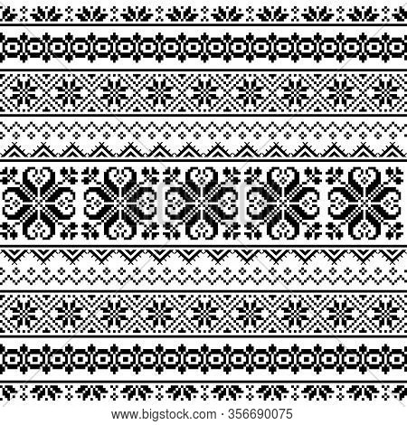 Ukrainian, Belarusian Folk Art Embroidery Seamless Vector Pattern - Vyshyvanka Traditional Embroider
