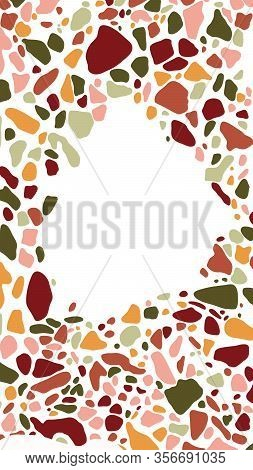 Background With Terrazzo Mosaic And Shapes . Abstract Mobile Wallpapers Templates For Social Media S