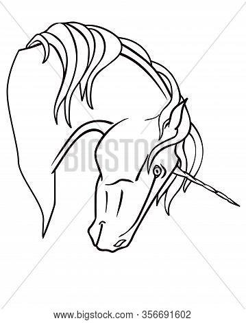 Unicorn - Linear, Vector Illustration For Coloring. Unicorn Head For Coloring Book. Fantastic Horse