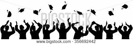 Silhouettes Of Graduates Throwing Square Academic Caps. Vector Illustration.