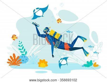 Diver Exploring Marine Life Flat Illustration. Underwater Sport, Snorkeling, Free Diving Extreme Hob