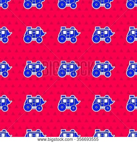 Blue Western Stagecoach Icon Isolated Seamless Pattern On Red Background. Vector Illustration