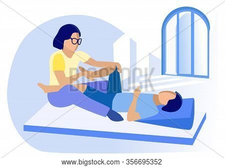 Physiotherapist Giving Leg Massage To Patient. Man Lying On Floor Gym Mat. Physiotherapy. Disabled P