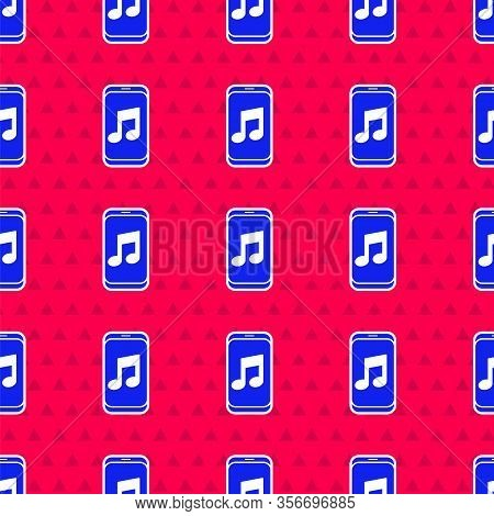 Blue Music Player Icon Isolated Seamless Pattern On Red Background. Portable Music Device. Vector Il