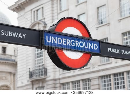 London / Uk - February 22nd 2020 - London Underground Sign At Piccadilly Circus Station In Central L