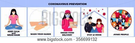 Covid-19. Coronavirus Epidemic. Family Quarantined. To Stay Home. A Girl In A Protective Mask Delive