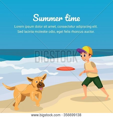 Summer Time. Cartoon Boy Play Flying Disk With Dog Vector Illustration. Happy Kid Throwing Frisbee P