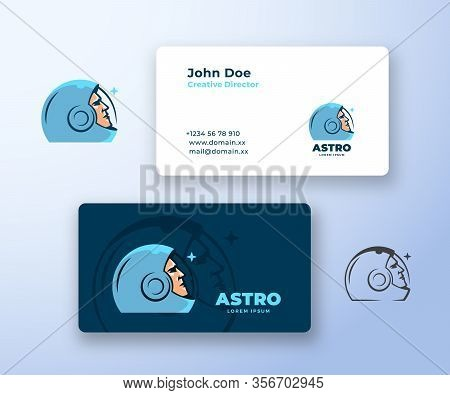 Astro Abstract Vector Logo And Business Card Template. Premium Stationary Realistic Mock Up. Space S