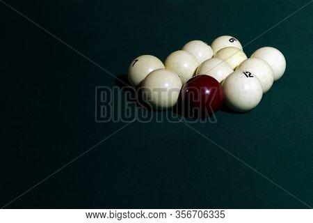 Billiard Table With Balls. Green Cloth. Playing Billiard And Pool. Ruusian Billiard.