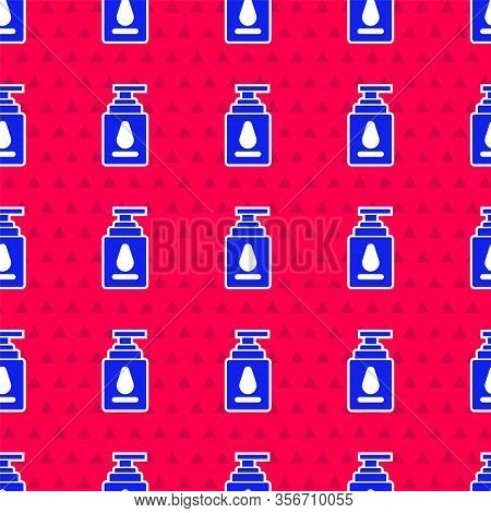 Blue Personal Lubricant Icon Isolated Seamless Pattern On Red Background. Lubricating Gel. Cream For