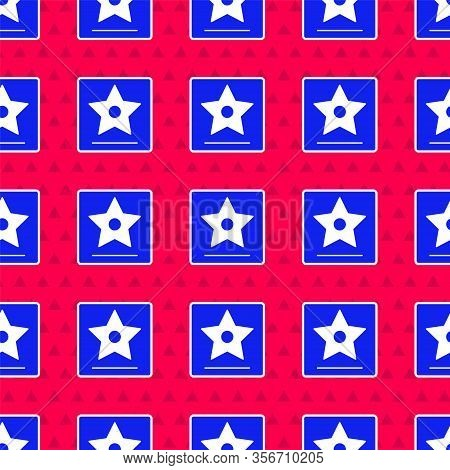 Blue Hollywood Walk Of Fame Star On Celebrity Boulevard Icon Isolated Seamless Pattern On Red Backgr