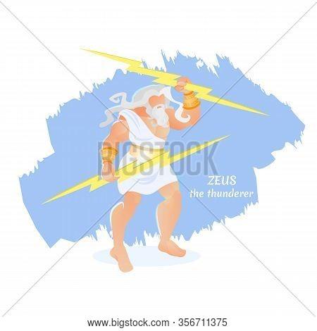 Zeus Thunderer Elderly Bearded Athlete Olympus Deity Greek Mythology God Wearing White Tunic Holding