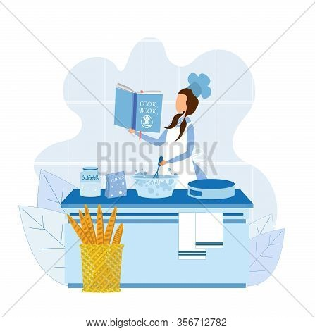 Young Faceless Woman In Chef Uniform Using Cook Book For Baking Cake Or Bread. Flat Kitchen Interior