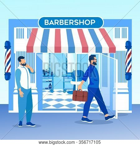 Customer With Stylish Hairstyle Leaving Barbershop, Man Pedestrian Watching On Happy Client Thinking