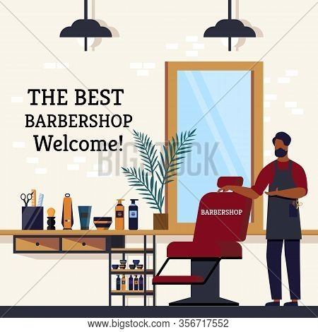 The Best Barbershop Welcome From Specialist Flat. Banner Excellent Hair Master Gladly Invites Everyo