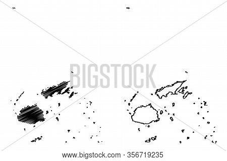 Republic Of Fiji (melanesia, South Pacific Ocean) Map Vector Illustration, Scribble Sketch Fiji (vit