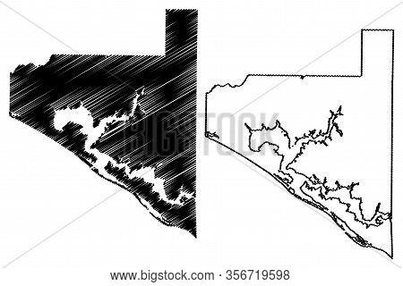 Bay County, Florida (u.s. County, United States Of America,usa, U.s., Us) Map Vector Illustration, S