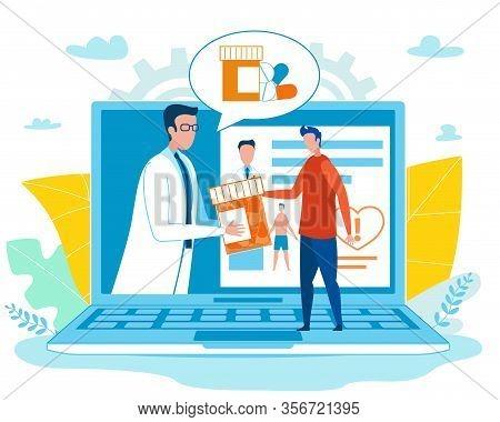 Virtual Doctor Gives Online Consultation And Prescribes Pills. Specialist And Digital Patient Card O