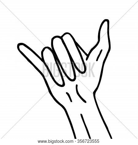 Vector Hand Drawn Doodle Sketch Aloha Shaka Surfing Sign Isolated On White Background