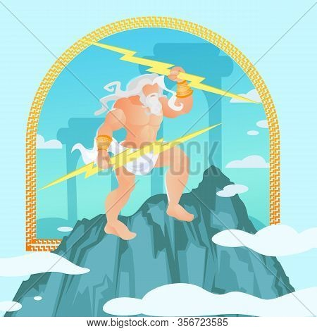 Zeus, Jupiter Or Jove From Classical Greek Or Roman Mythology Wielding A Lightning Bolts From Top Of