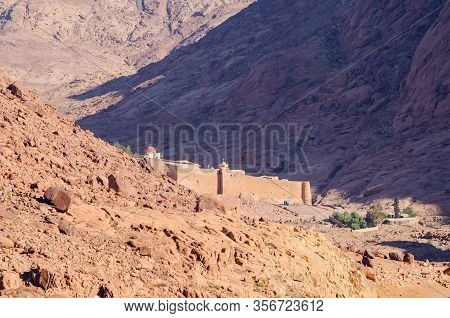 Monastery Of St. Catherine In The Mountains Of Egypt In The Sinai Peninsula.
