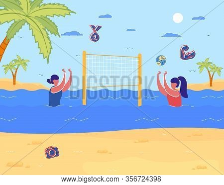 Cartoon Woman Play Acqua Volleyball In Water On Sea Beach Vector Illustration. Girl Hit Ball Over Ne