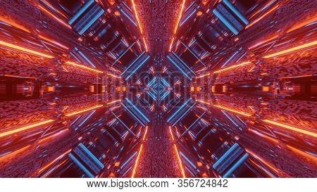 3d Illustration Background Wallpaper Graphic Artwork Of A Futuristic Scifi Space Ship Hangar Tunnel
