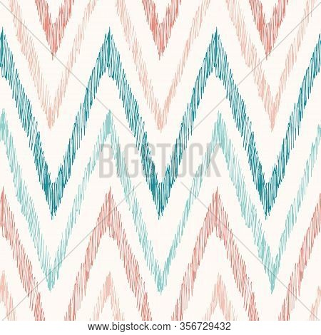 Hand-drawn Pastel Colored Ikat Chevron Vector Seamless Pattern. Modern Retro Zig-zag Geometric Print