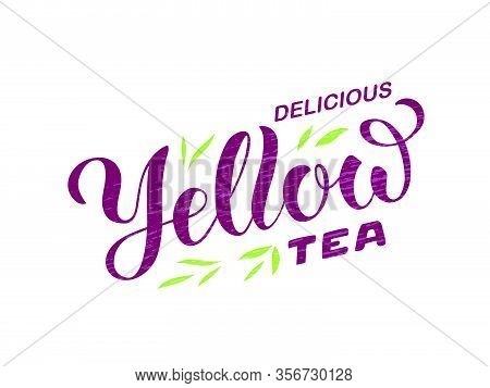 Vector Illustration Of Delicious Yellow Tea Brush Lettering For Package, Banner, Flyer, Poster, Bist