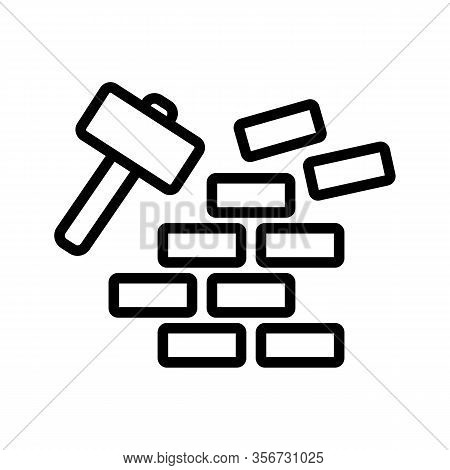 Demolition Of Wall Icon Vector. Demolition Of Wall Sign. Isolated Contour Symbol Illustration