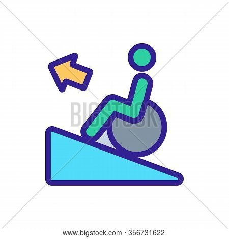 Man Up Wheelchair Icon Vector. Man Up Wheelchair Sign. Color Isolated Symbol Illustration