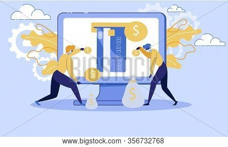 Fraudulent In Internet, Payment Safety, Online Money Transfers Protection Trendy Flat Vector Concept