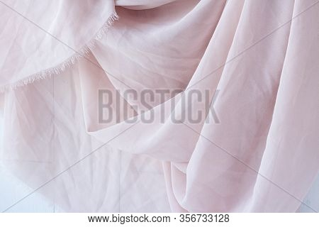 Texture Background Pattern. Pink Silk Fabric. Vintage French Semi Sheer Crepe De Chine Fabric In A S