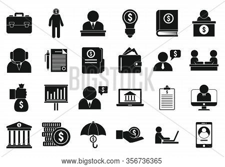Financial Advisor Icons Set. Simple Set Of Financial Advisor Vector Icons For Web Design On White Ba