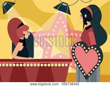 Love Show Or Quiz Game Broadcasting With Host Sitting On Tribune And Young Woman Stand On Podium Wit