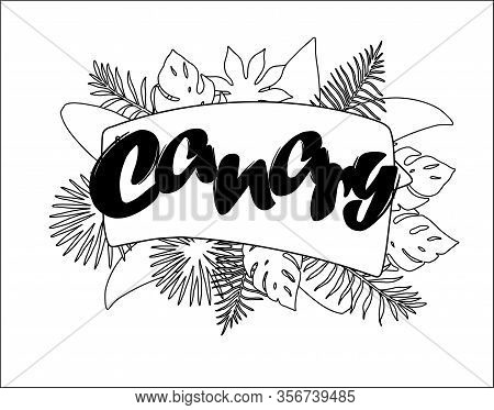 Canary Tropical Leaves Bright Banner Orange Letters