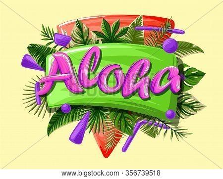 Aloha Ibiza Tropical Leaves Bright Banner Orange Letters