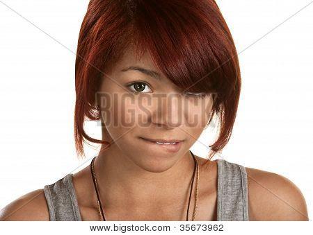 Teenager Biting Her Lip