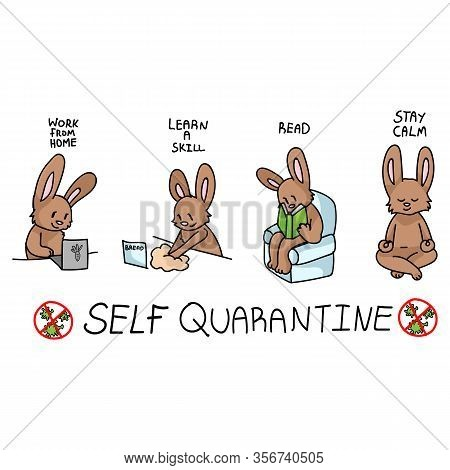 Corona Virus Covid 19 Self Quarantine Cute Bunny Activity Infographic. Self Isolate Support. Reading