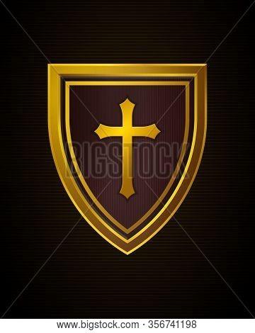 Christian Cross And Shield Of Faith. Church Logo. Religious Symbol. Creative Christian Icon. Gold An