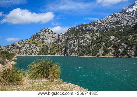 View Of Pantà De Georg Blau And Serra De Tramuntana In Mallorca, Spain