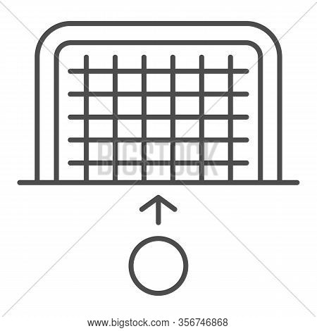 Goal And Ball Thin Line Icon. Soccer Gate With Soccer-ball, Penalty Or Attack Symbol, Outline Style