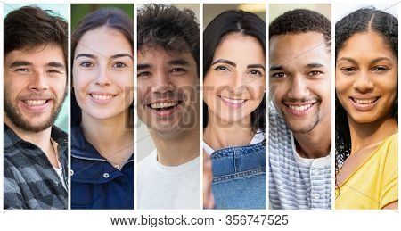Positive Multicultural Student Girls And Guys Portrait Set. Happy Young Diverse Men And Women In Cas