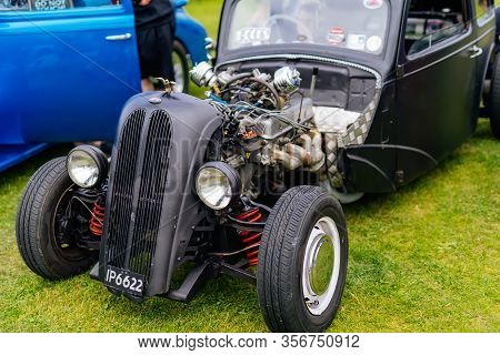 Bray, Ireland, June 2018 Bray Vintage Car Club Show, Open Air Retro Cars Display. Well Groomed Black