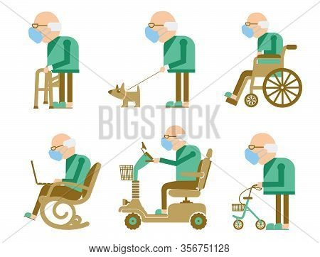 Senior Old Man Wearing Mask Protect Covid-19. Vector Avatars Of Old Man In Medical Masks. Elderly Ma